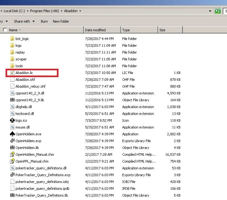 Poker bot license file